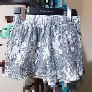 🚚 韓版蕾絲條紋深藍色拼紗刺繡短褲韓國妞