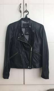 Massimo Dutti Women's Black Leather Biker Jacket for winter or fashion wear