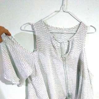 Forever21 cold shoulder chiffon blouse