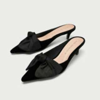 Zara Kitten Heel with Bow Black