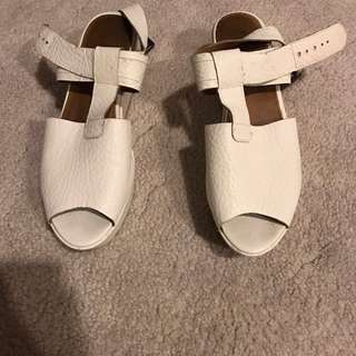 White Leather Shoes Sandals Buckle