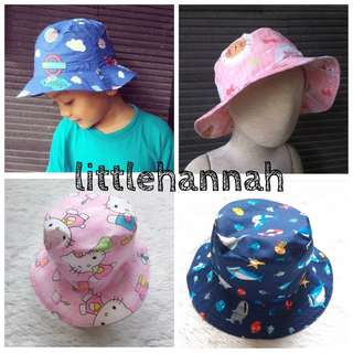 Baby Toddler Boy Girl Kids Reversible Cotton Bucket Hat (many designs, all size 1-4Y)