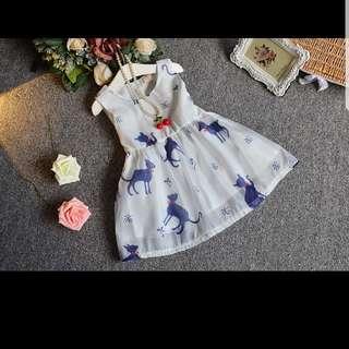 Sleeveless Cute Cat Printed Dress