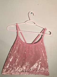 Pink Velvet Crop Top