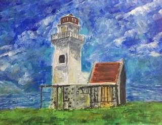 """Tayid Lighthouse, Watercolor on Paper 7x7"""""""