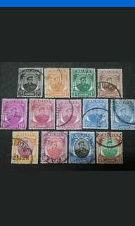 Malaya 1949 Johor Sultan Sir Ibrahim Loose Set Up To $5 - 13v Used Stamps