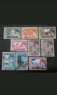 Malaya 1957 Johor Sultan Sir Ibrahim Loose Set Up To To $1 - 9v Used Stamps