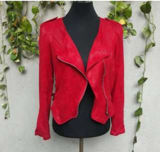 Deep red suede fashion jacket