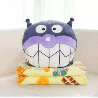 🚀現貨🚀 細菌人 三合一抱枕毯 兩用毯 抱枕 抱枕毯 空調毯 麵包超人抱枕 肚子裡有毯子