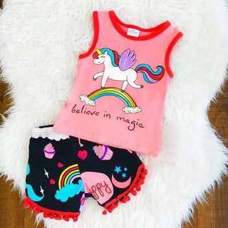 Unicorn 2pc Set with Tassel Shorts