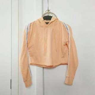 Peach Cropped Side Stripe Hoodie