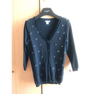 H & M elegant crystal black v neck cardigan top zara bcbg topshop cos club monaco mango asos 高貴典雅閃閃水晶黑色V領外套 褸 襯衫