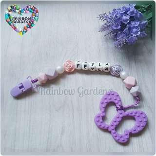Handmade Customized Pacifier Clip with letter beads + Butterfly Teether