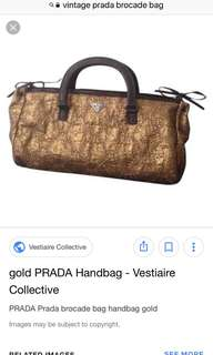 Vintage Prada gold lame bag