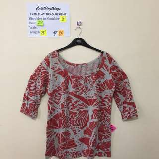 Plus Size Marks & Spencers Red and Gray Butterflies Print Top