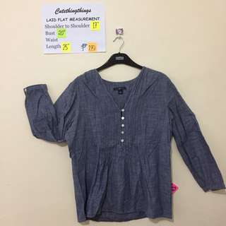 Gap Denim Pleated Bib 3/4 Sleeved Top