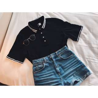 H&M Cropped Collared Top