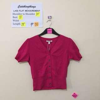 BNWT Esprit Fuschia Pink Short Sleeved Cardigan