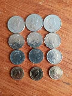 香港硬幣 女王頭 👉1960年大1元👉2元89年👉1元88年👉5毫87年🖐共12個