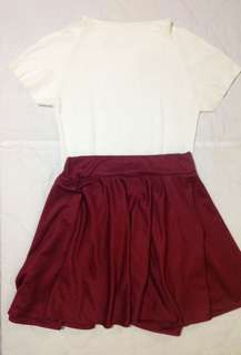White Knitted Top and Maroon Skater Skirt