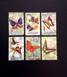 Malaysia 1970 Butterflies Series 6v Used (0387)