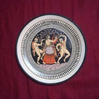 Dionysus with Silenus & Satyr - Vintage Handmade Greek Gods Clay / Terracotta Plate