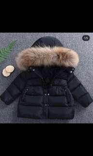 Winter jacket bubble fur black