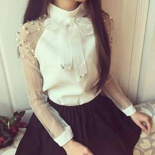 casual chiffon pearl and bow white blouse