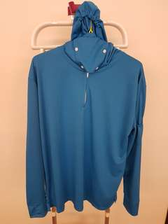 Fishing Long Sleeve Top with Hood and Mask Blue