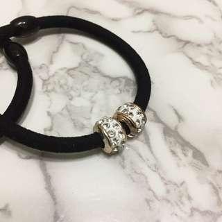 [全新] 亮鑽珠珠 黑色彈性髮圈