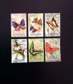 Malaysia 1970 Butterflies Series 6V Used (0388)