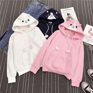 Hoodie Meoww White,Pink,Blue