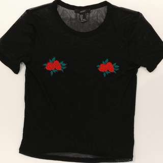 Mest Shirt w Embroidered Flowers