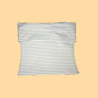 💛 Striped off shoulder/tube top