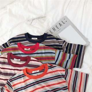 [PO] Retro Colourful Stripe T-Shirt