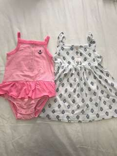 PL 12M Carter's baby girl romper and dress