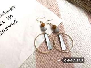 白松石貝殼木頭幾何耳環
