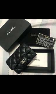 Chanel黑色牛皮銀c 零錢卡片包
