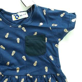 BNWT 3T Navy Blue Cotton Dress with Golden Pineapples