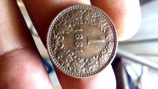 Koin AUSTRIA 1sen Tahun 1881