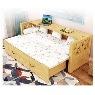 實木 梳化床 伸縮 推拉 梳化 儲物 電腦桌 百變 180403