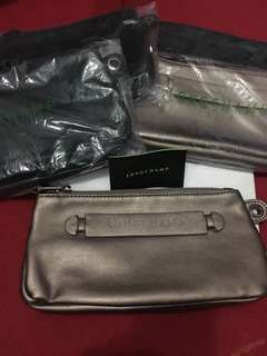 Super Sale !!! Authentic longchamp pouch leather moss green& rose gold slightly flaw no Wrislet