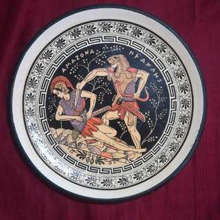 Amazon & Heracles - Vintage Handmade Greek Gods Clay / Terracotta Plate