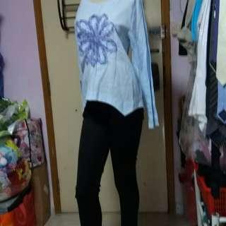 Lace绵麻長袖衫