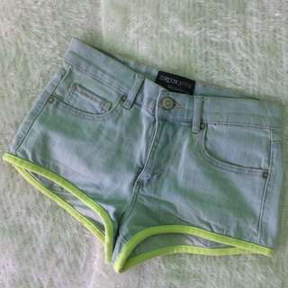 Bottom: Maong Short With Yellow Green Lining