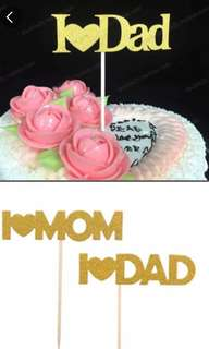 I love mom / dad cake topper