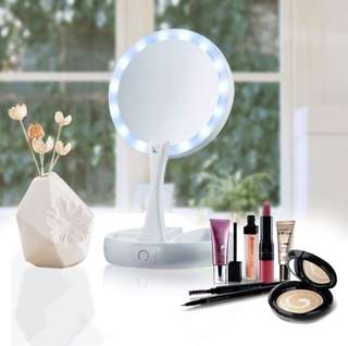 [PO] LED Double-Sided Rotation Folding Makeup Mirror