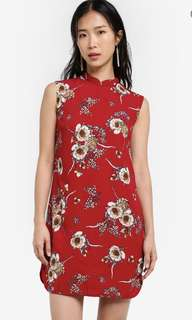 Printed mandarin collar dress