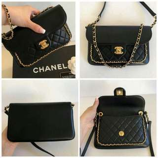 NEW CHANEL black calfskin cross body mini/clutch FULL SET
