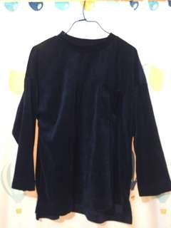 👕[from japan]navy velvet sweater